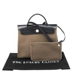 Hermès Bleu Indigo/Khaki Canvas and Leather Herbag Zip 31 Bag
