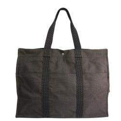 Hermes Grey Canvas Herline GM Tote Bag