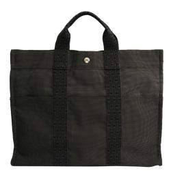 Hermes Grey Canvas Herline MM Tote Bag