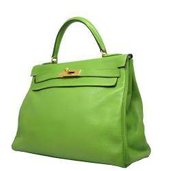 Hermes Green Leather Gold Hardware Kelly Retourne 32 Bag
