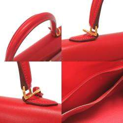 Hermes Red Leather Box Gold Hardware Kelly Sellier 25 Bag