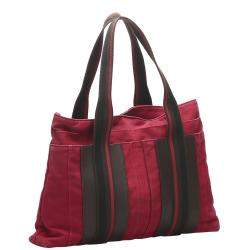 Hermes Red Canvas Sac Troca Horizontal MM Tote Bag