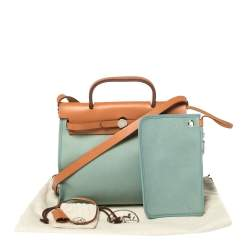 Hermes Barenia/Ciel Canvas And Leather Herbag Zip 31 Bag