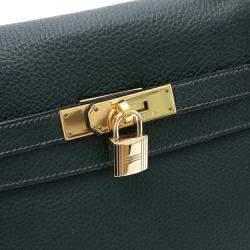 Hermes Green Clemence Leather Gold Hardware Kelly Retourne 35 Bag