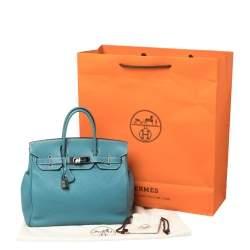 Hermes Blue Jean Clemence Leather Ruthenium Hardware Hac Birkin 28 Bag