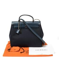 Hermes Blue Marine/Saphir Canvas and Leather Herbag Zip 31 Bag