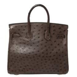 Hermes Havane Ostrich Palladium Hardware Birkin 25 Bag