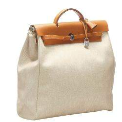 Hermes Cream/Brown Toile Canvas Herbag GM Bag