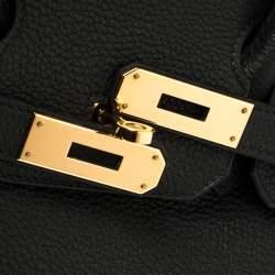 Hermes Noir Togo Leather Gold Hardware Birkin 30 Bag