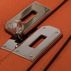 Hermes Orange Clemence Leather Palladium Hardware Kelly Retourne 40 Bag