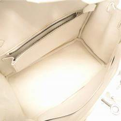 Hermes White Epsom Leather Palladium Hardware Birkin 25 Bag