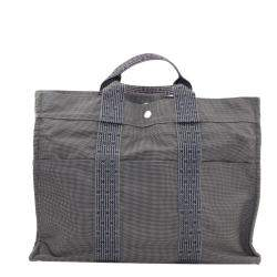 Hermes Grey Toile Canvas Herline MM Tote Bag