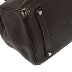 Hermes Cacao Clemence Leather Palladium Hardware Birkin 35