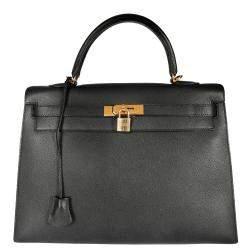 Hermes Black Epsom Leather Gold Hardware Kelly Sellier 35 Bag
