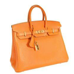Hermes Orange Taurillon Novillo Leather Gold Hardware Birkin 25 Bag