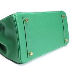 Hermes Green Epsom Leather Gold Hardware Birkin 30 Bag