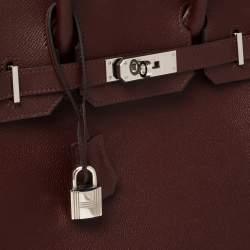 Hermes Bordeaux Epsom Leather Palladium Hardware Birkin 30 Bag