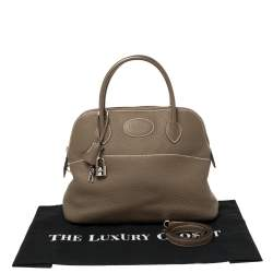 Hermes Taupe Grey Clemence Leather Bolide 31 Bag