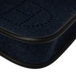 Hermes Blue Nuit/Black Feutre and Swift Leather Evelyne I TPM Bag