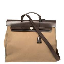 Hermes Etoupe/Ebene Canvas and Leather Herbag Zip 39 Bag
