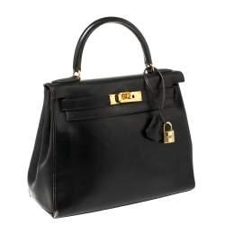 Hermes Black Box Calf Leather Gold Hardware Kelly Retourne 28 Bag