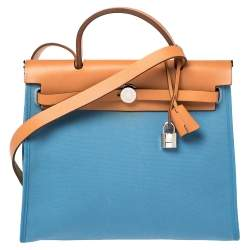 Hermes Natural/Blue Agate Canvas and Leather Herbag Zip 31 Bag