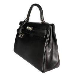 Hermes Black Swift Leather Palladium Hardware Kelly Retourne 28 Bag