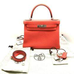 Hermes Rose Clemence Leather 2020 Palladium Hardware Kelly Retourne 28 Bag