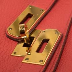 Hermes Bougainvillea Clemence Leather Gold Hardware Shoulder Kelly 42 Bag