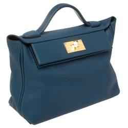 Hermes Deep Blue Togo Leather Gold Hardware 24/24 29 Bag