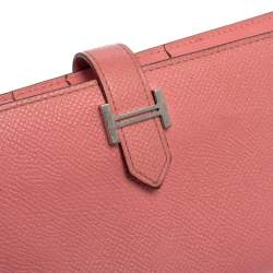 Hermes Rose Confetti Epsom Leather Bearn Classic Wallet