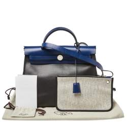 Hermes Black/Blue Sapphire Coated Canvas and Leather Limited Edition Herbag Zip 31 Bag