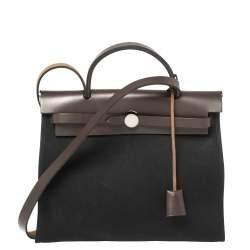 Hermès Black Canvas And Brown Leather Herbag Zip 31 Bag