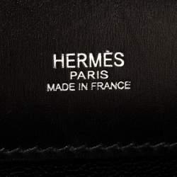 Hermes Black Box Calf Leather Palladium Hardware Kelly Longue Clutch 34