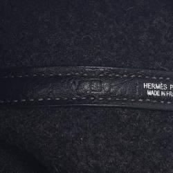 Hermes Black Canvas Garden Party Tote Bag