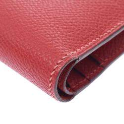 Hermes Red Leather  Bearn Compact Wallet