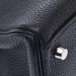 Hermes Black Leather Palladium Hardware Kelly 32 Bag