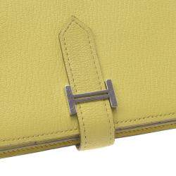 Hermes Yellow Leather Bearn Wallet