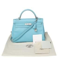 Hermes Bleu Du Nord Epsom Leather Palladium Finished Kelly Retourne 32 Bag