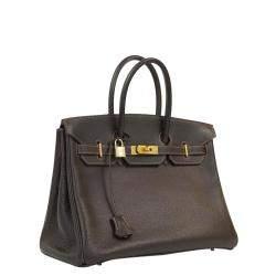 Hermes Brown Leather Gold Hardware Birkin 35 Bag