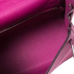 Hermes Rose Pourpre Togo Leather Palladium Finished Kelly Retourne 25 Bag