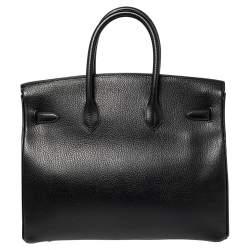 Hermes Black Taurillon Clemence Leather Gold Finished Birkin 35 Bag