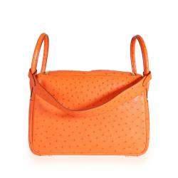 Hermes Orange/Tangerine Ostrich Leather Lindy 30 Bag