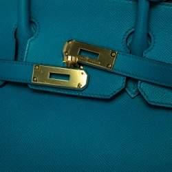 Hermes Blue Izmir Epsom Leather Gold Hardware Birkin 30 Bag