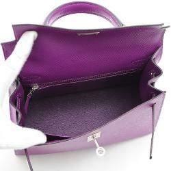 Hermes Purple Epsom Leather Palladium Hardware Kelly 25 Bag