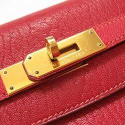 Hermes Red Chevre Coromandel Leather Gold Hardware Kelly 35 Bag