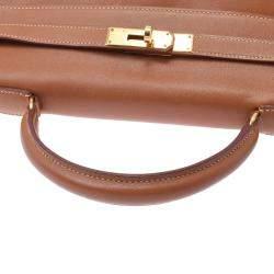 Hermes Brown Leather Gold Hardware Kelly 32 Bag