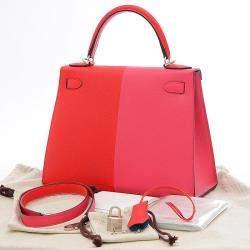 Hermes Red/Pink Epsom Leather Palladium Hardware Kelly 28 Bag