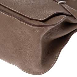 Hermes Etoupe Taurillon Clemence Leather Palladium Plated Jypsiere 37 Bag