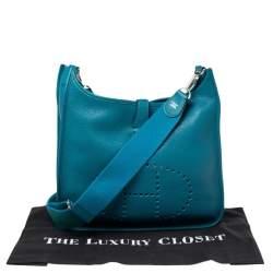 Hermes Bleu Izmir Taurillon Clemence Leather Evelyne III GM Bag